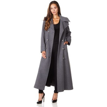 Clothing Women coats De La Creme Long Military Wool Cashmere Winter Coat Grey