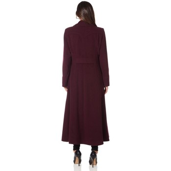 Clothing Women coats De La Creme Long Military Wool Cashmere Winter Coat Red