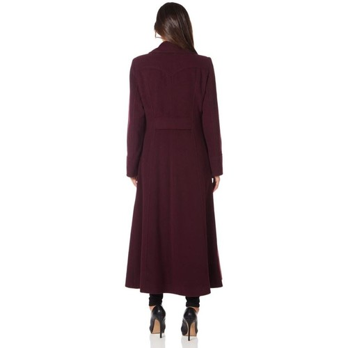 Clothing Women coats De La Creme Long Military Wool Cashmere Winter Coat Red