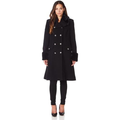 Clothing Women Trench coats De La Creme Military Cashmere Wool Winter Coat Fur Collar Black