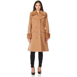 Clothing Women Trench coats De La Creme Military Cashmere Wool Winter Coat Fur Collar BEIGE