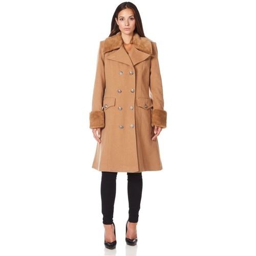 Clothing Women Trench coats De La Creme Military Cashmere Wool Winter Coat Fur Collar BEIGE
