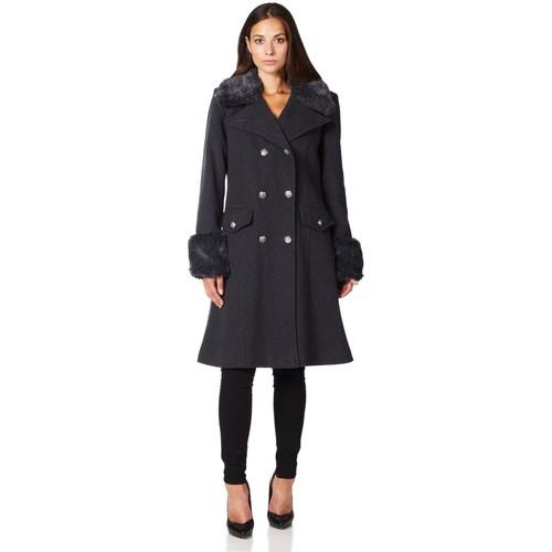 Clothing Women coats De La Creme Military Cashmere Wool Winter Coat Fur Collar Grey