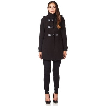 Clothing Women Coats De La Creme Wool  Hooded Zip Fastening Winter Coat Black