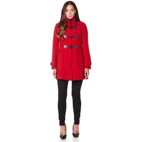 Clothing Women coats De La Creme Wool Cashmere Hooded Zip Fastening Winter Coat Red