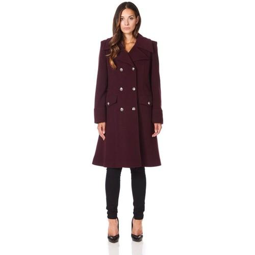 Clothing Women coats De La Creme Military Cashmere Wool Winter Coat Red