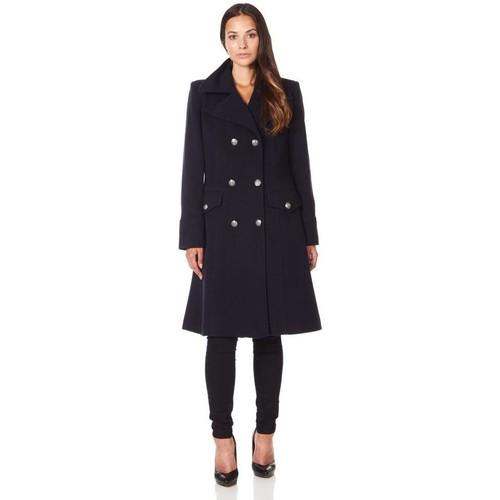 Clothing Women Coats De La Creme Military Cashmere Wool Winter Coat Black