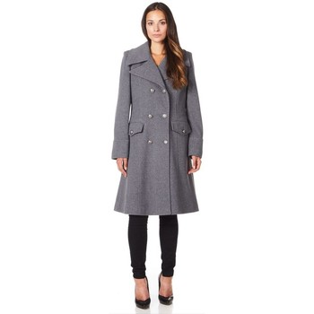Clothing Women coats De La Creme - Grey Women`s Military Cashmere Wool Winter Coat Grey