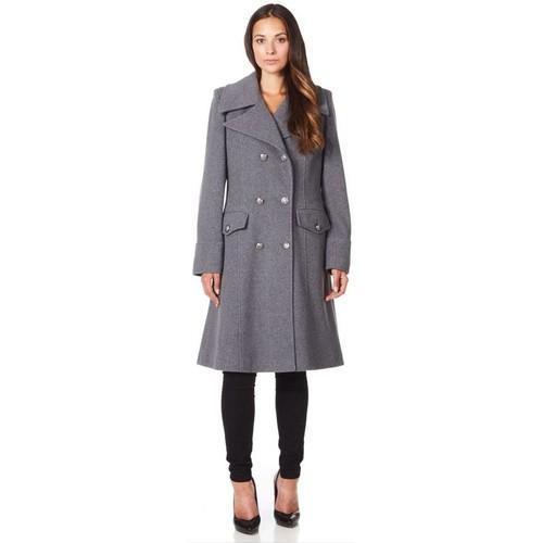 Clothing Women Coats De La Creme Military Cashmere Wool Winter Coat Grey