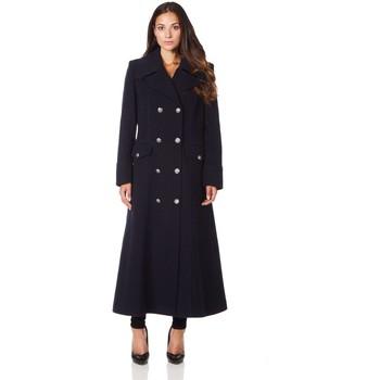 Clothing Women Coats De La Creme Long Military Wool Cashmere Winter Coat BEIGE