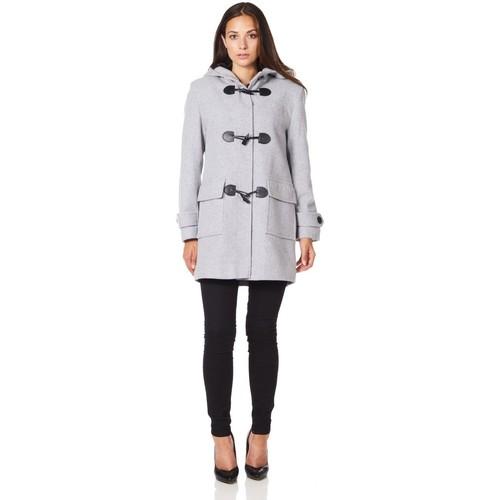 Clothing Women Coats De La Creme Wool Cashmere Winter Hooded Duffle Coat Grey